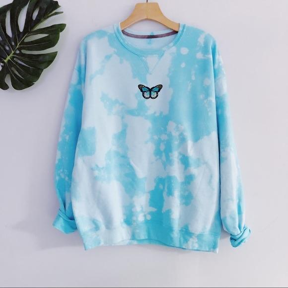 NEW Oversized Teal Butterfly Sweatshirt Warm LATASHANICOLE