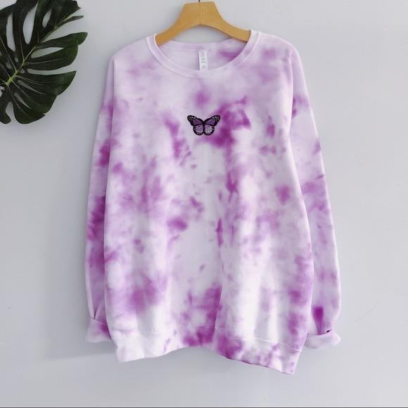 NEW Purple Butterfly Tie dyed Sweatshirt top LATASHANICOLE