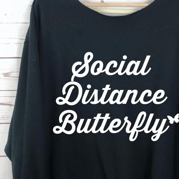 NEW Social Distance Butterfly graphic sweatshirt LATASHANICOLE