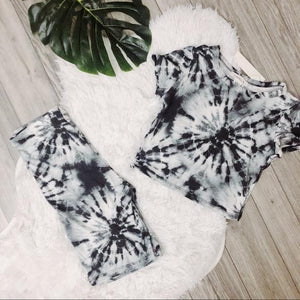 NEW soft Tie Dye Biker Set outfit black LATASHANICOLE