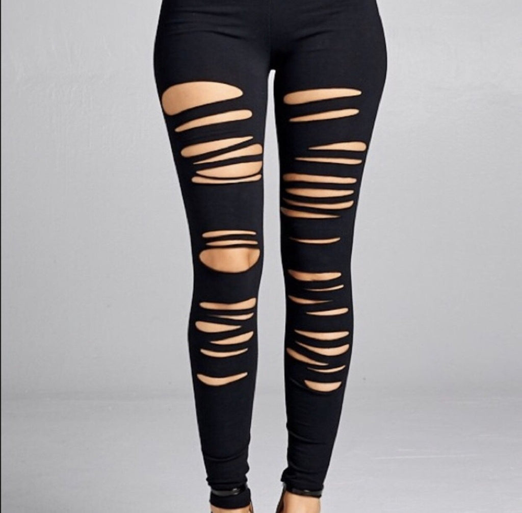 Over the edge soft distressed leggings LATASHANICOLE