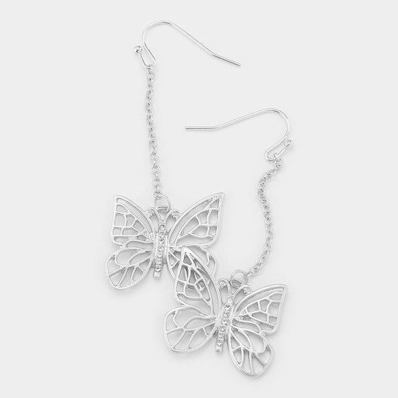 NEW Silver Butterfly Earrings Jewelry