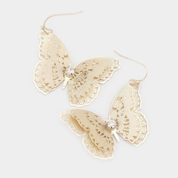 NEW Boho Gold Butterfly Earrings Statement gift