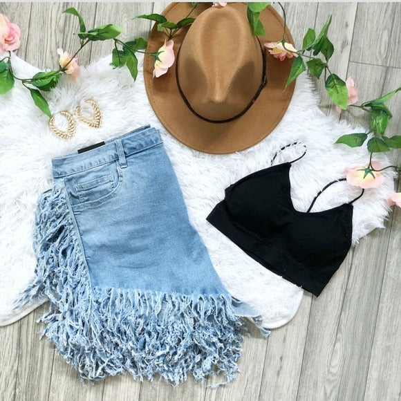Sexy Distressed High Waist Bohemian Shorts Stretch
