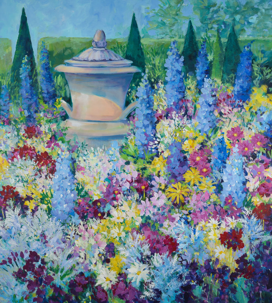 Garden with Delphiniums -  High Summer, Versailles Palace 100 x 90 cm