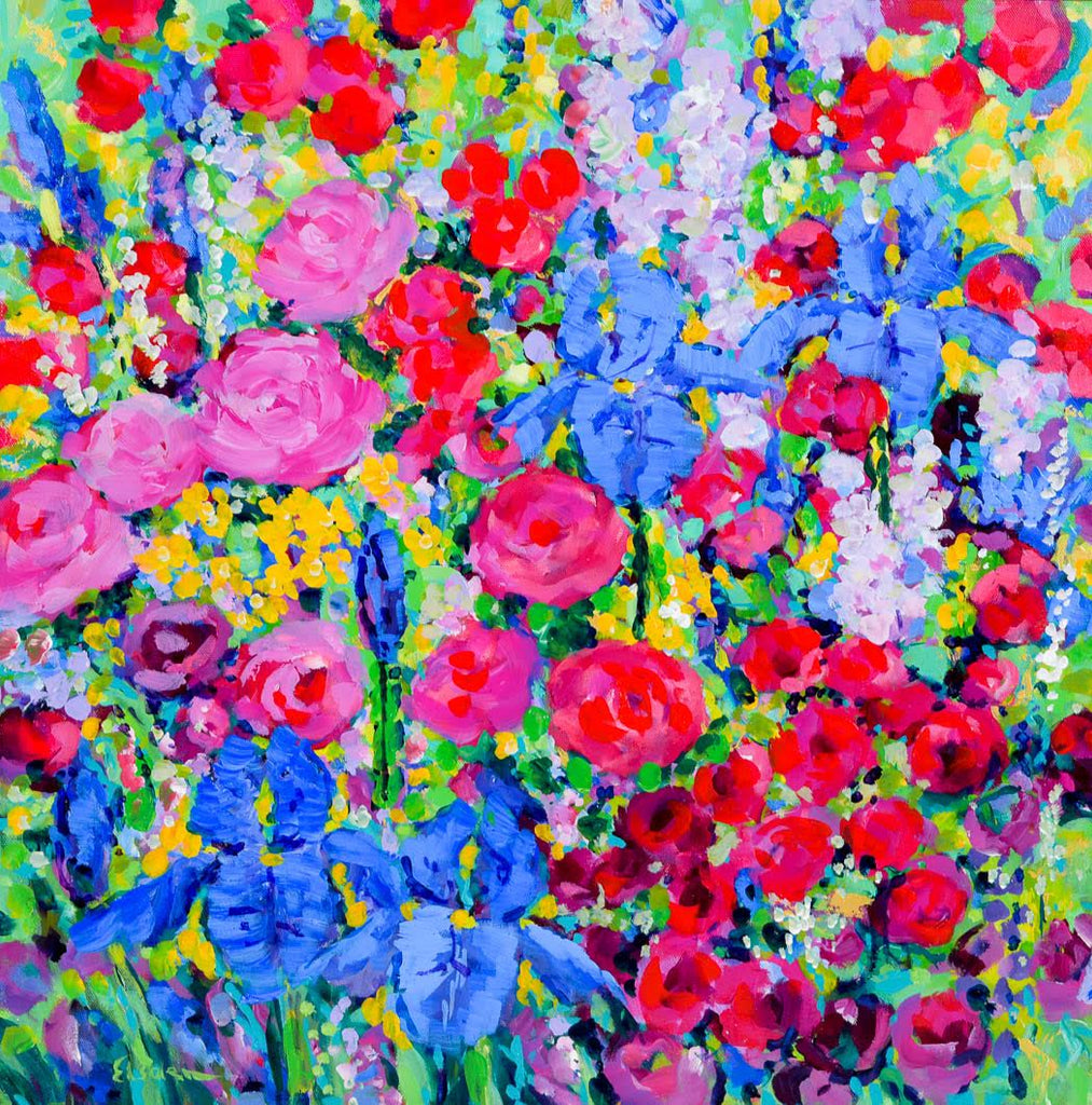 Garden Tapestry with Red Roses - 61 x 61cm