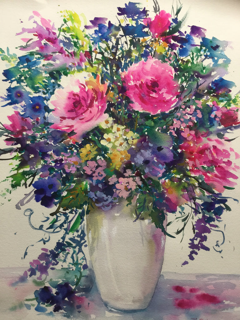 Summer Flowers in a white vase 46 x 35 cm