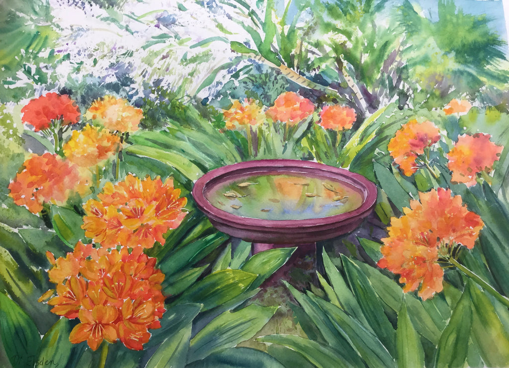 Clivia and King Orchids 35 x 48 cm