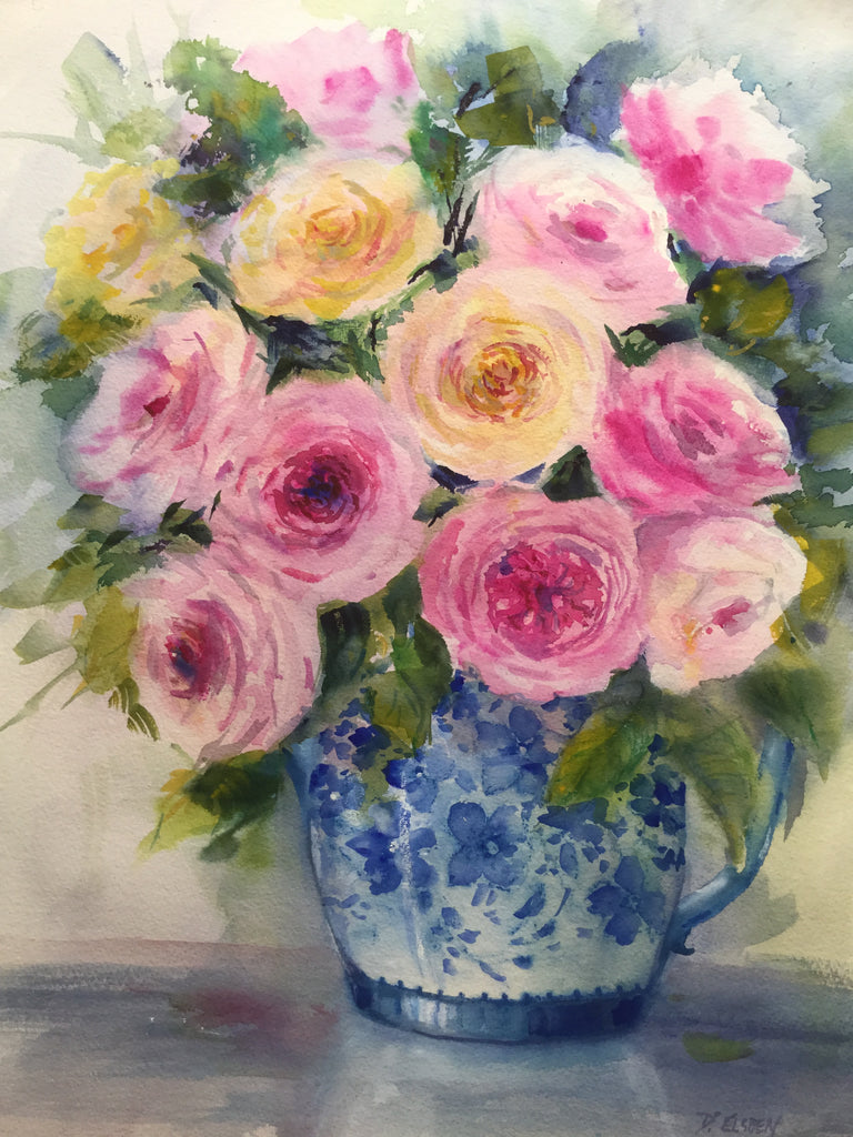 David Austin Roses in Blue and White Jug 46 x 35