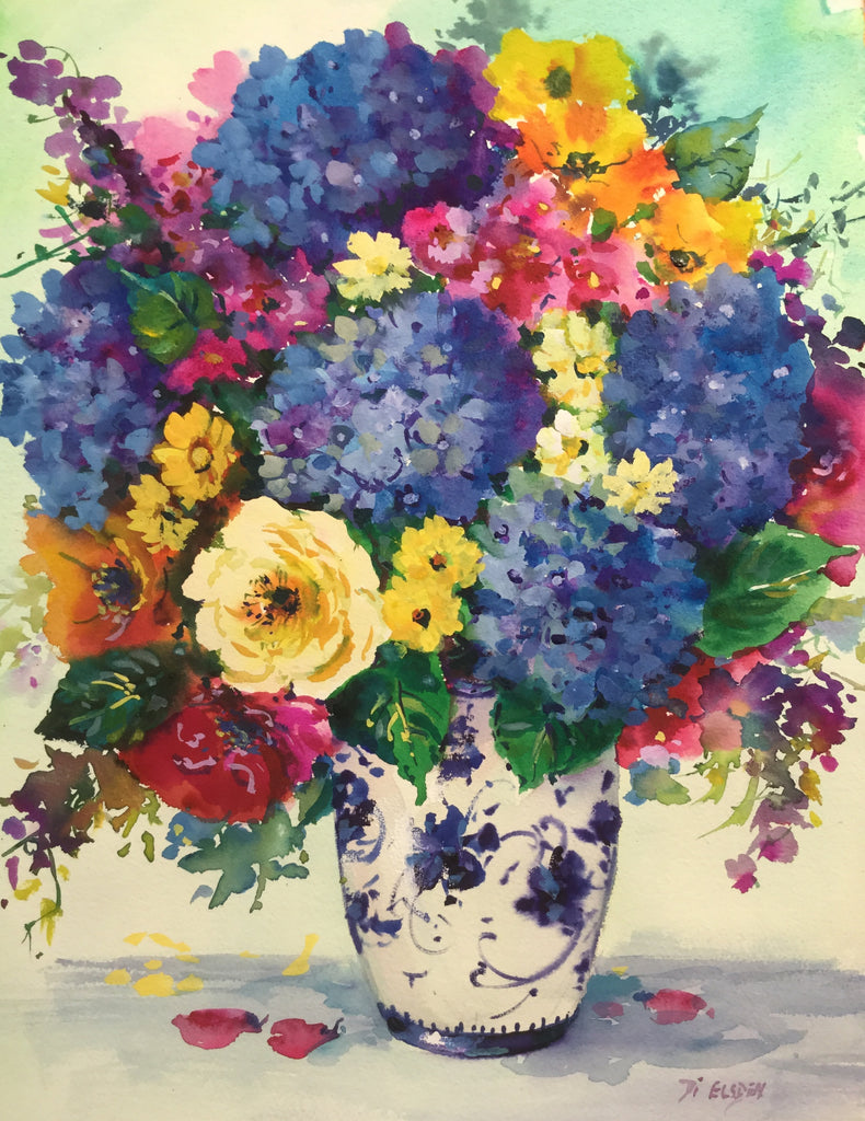 Hydrangea and Roses in Blue and White Vase 46 x 36