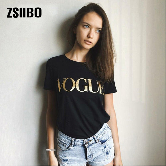 Women T-shirt Gold Letters