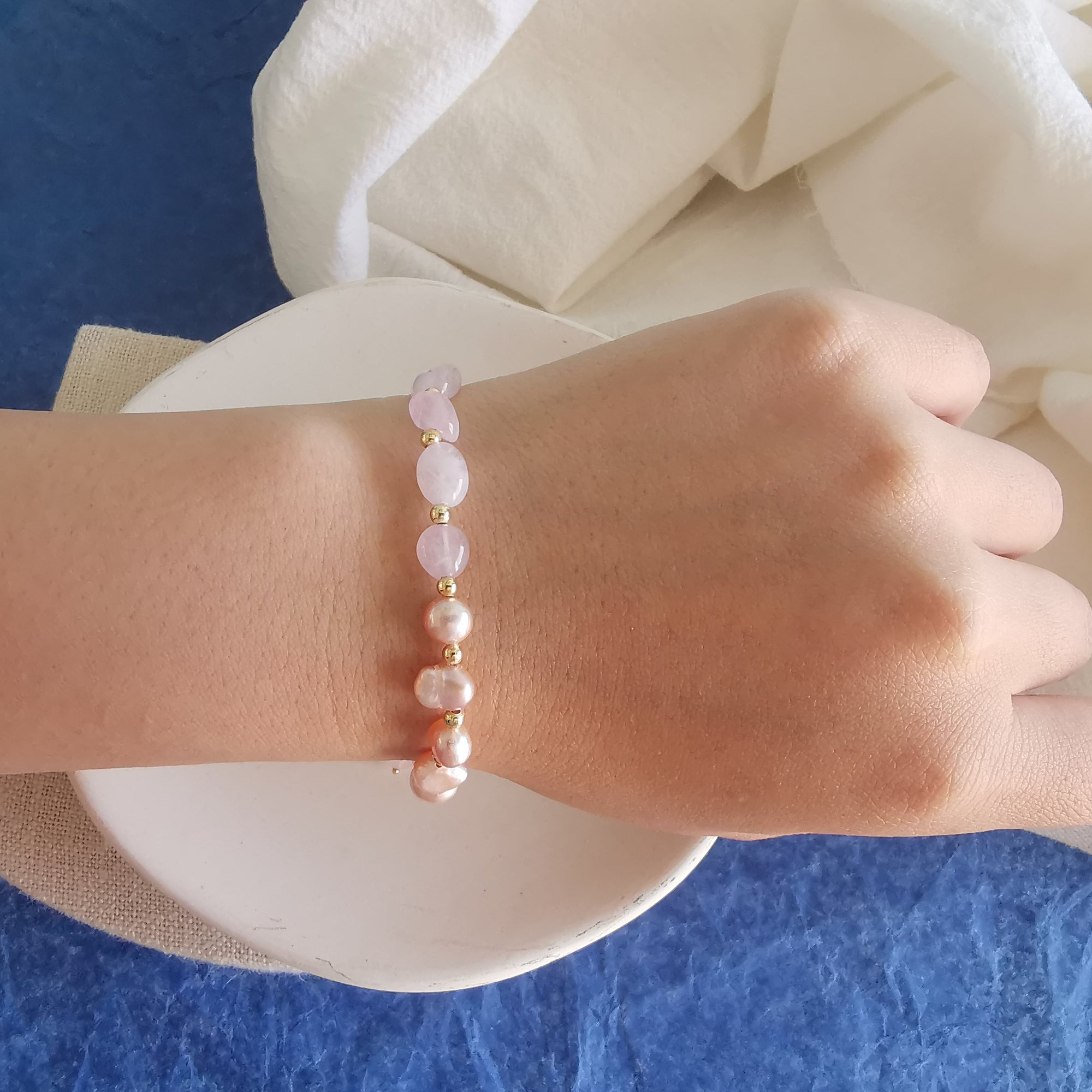 Peal and Quartz Bracelet