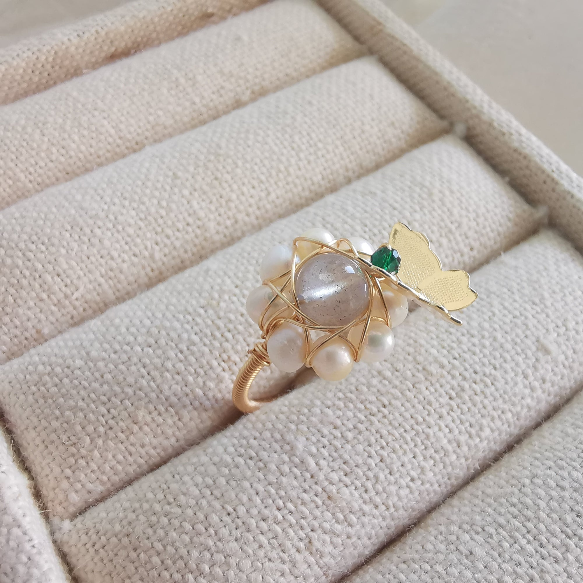 Moonstone and Freshwater Pearl Butterly Ring