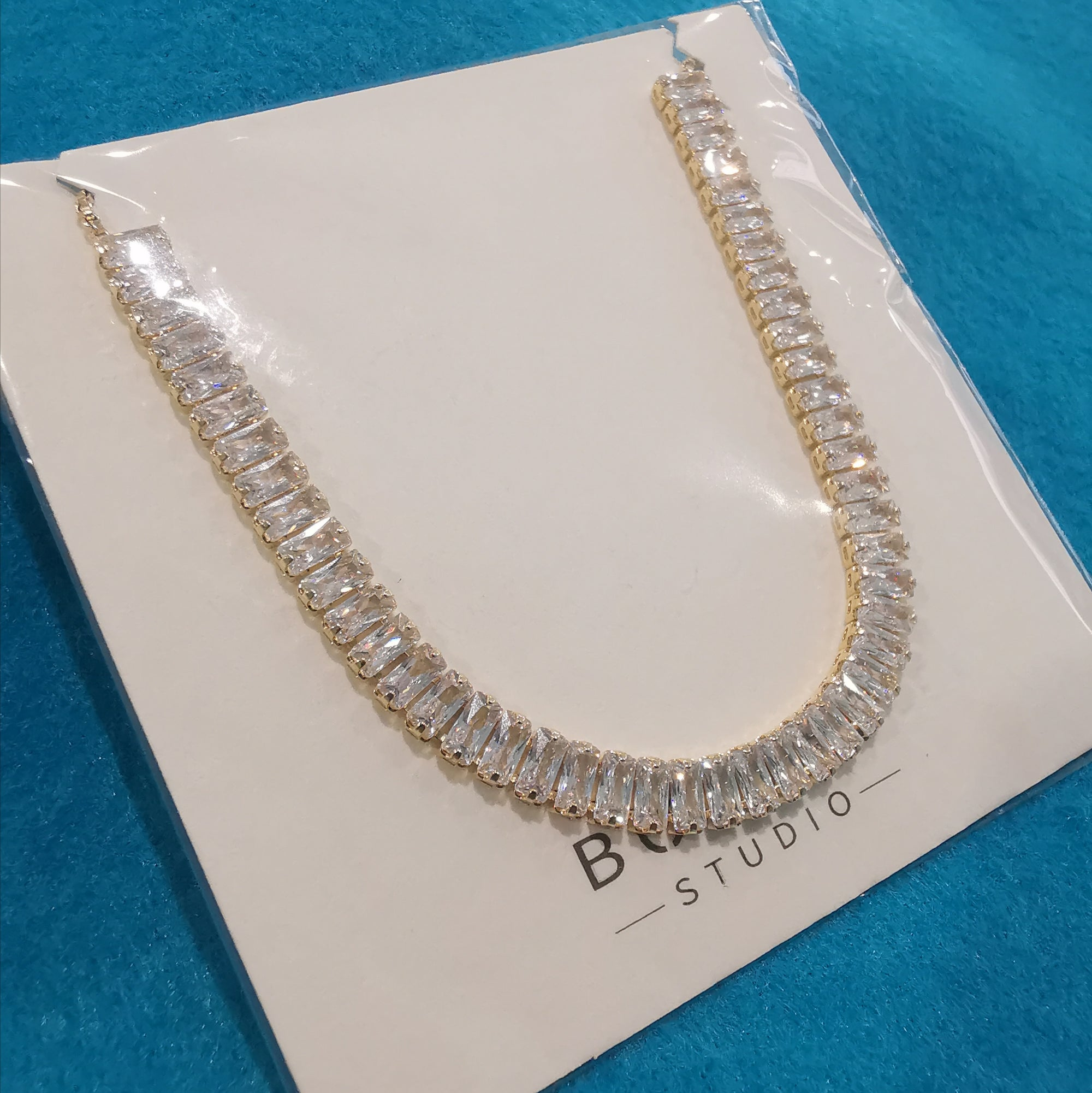 Gold Cubic Zirconia Choker Necklace