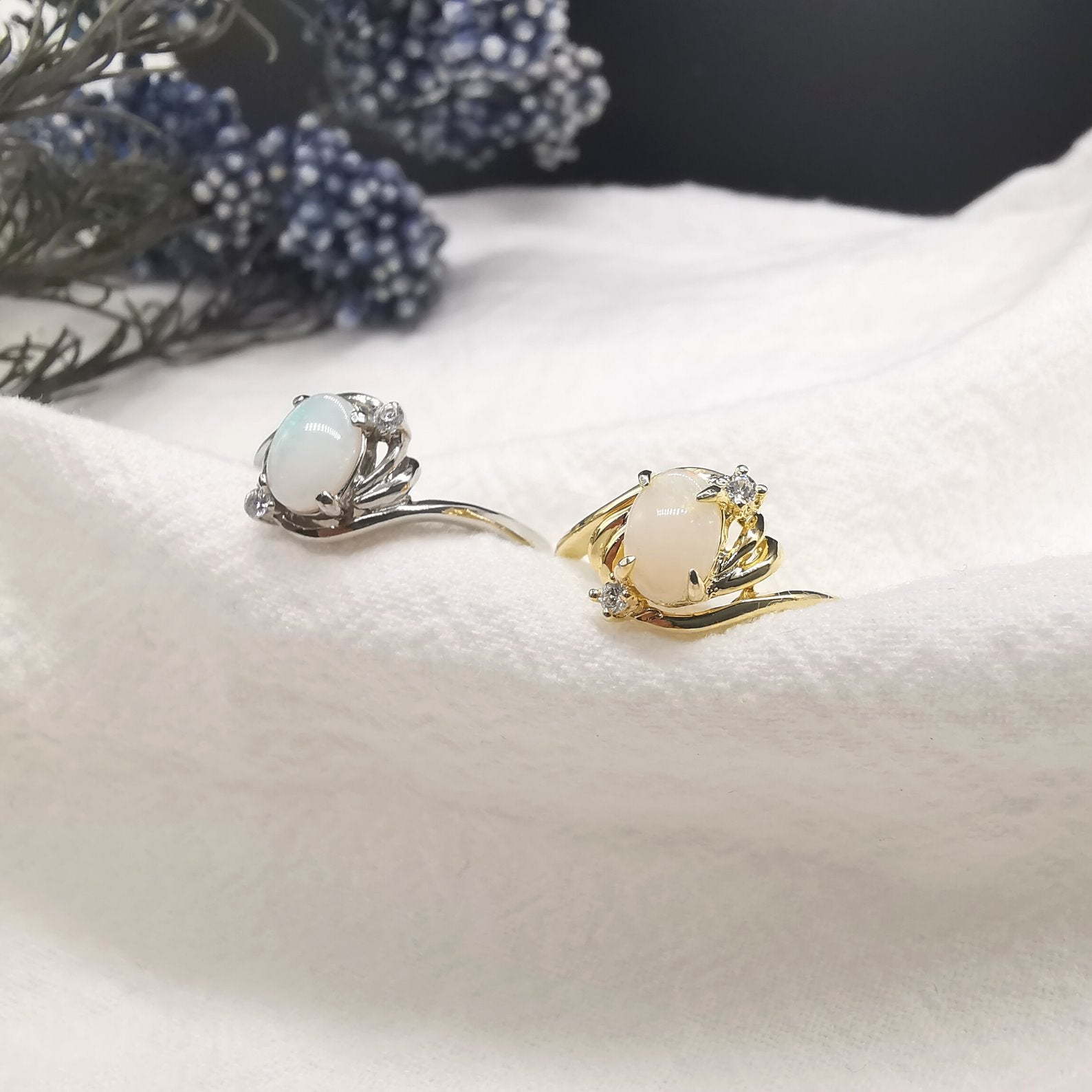 Solid Natural Opal Rings With Cubic Zirconia - Bolino Studio - Minimalist Jewellery