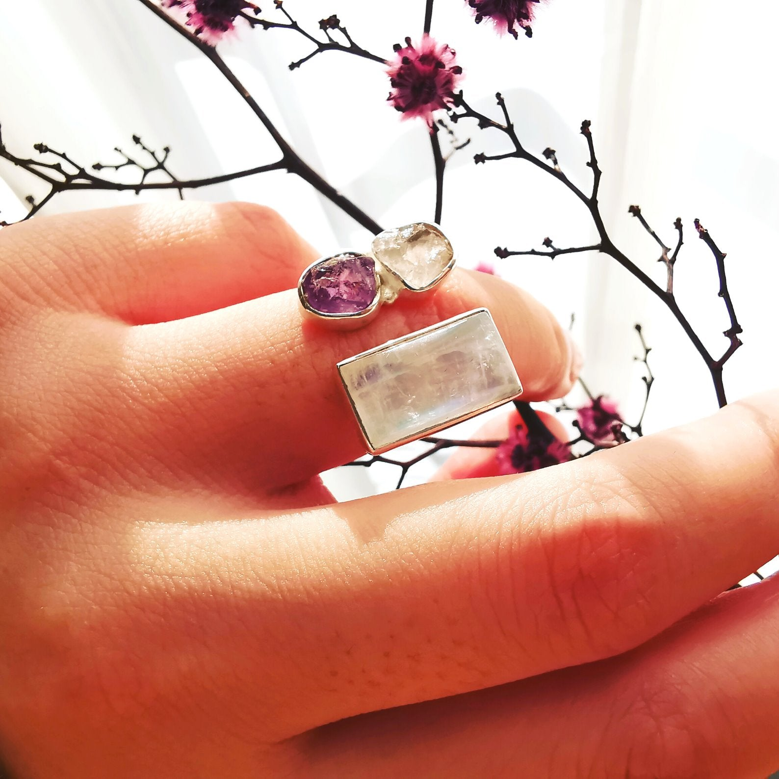 Stunning Handmade Adjustable Multi Stone, Quartz, Amethyst & Moonstone Ring - Bolino Studio - Minimalist Jewellery