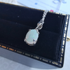 Simple Silver Solid Opal Set With Necklace, Earrings & Ring 925 Sterling Silver