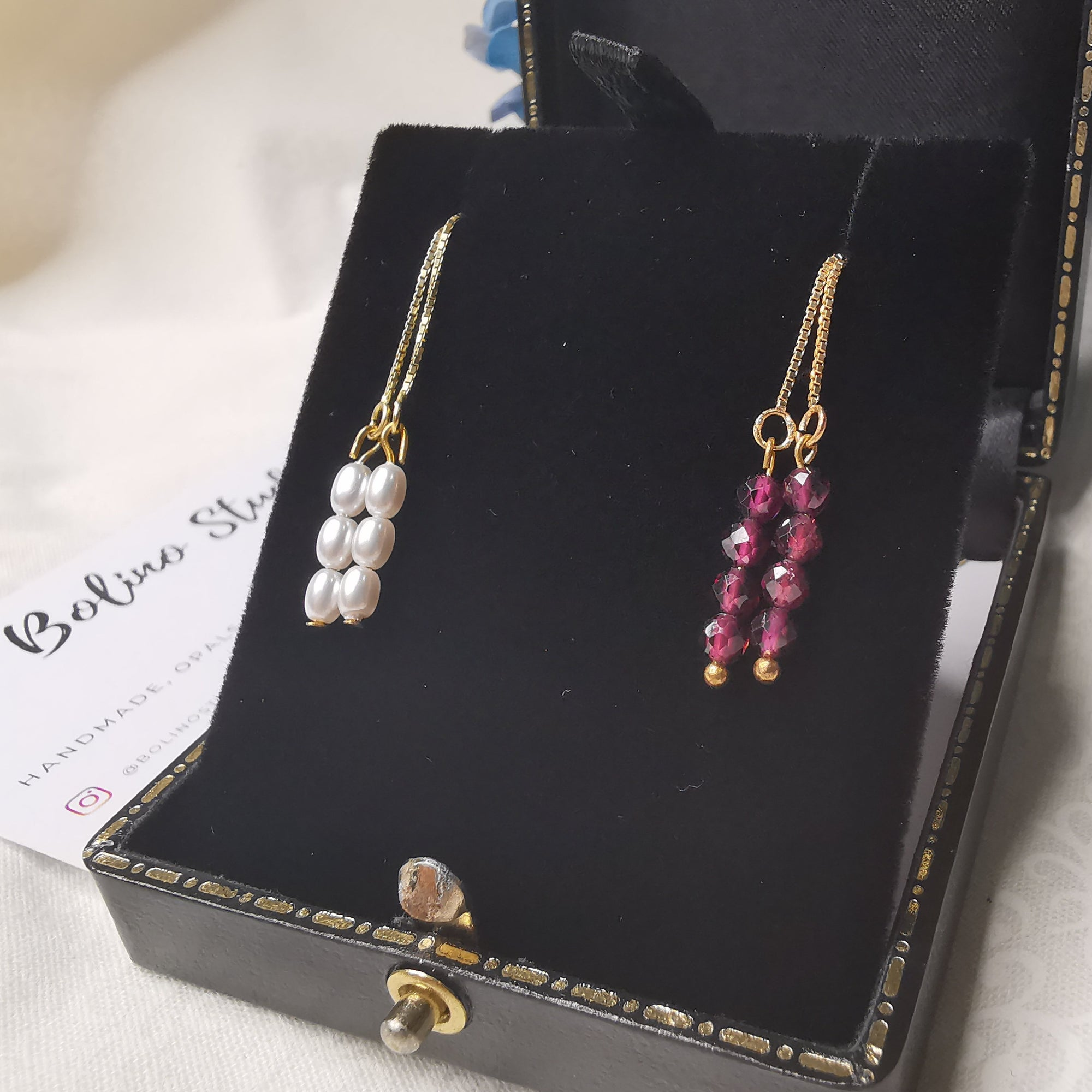 Minimalist Pearl Or Garnet Threader Earrings