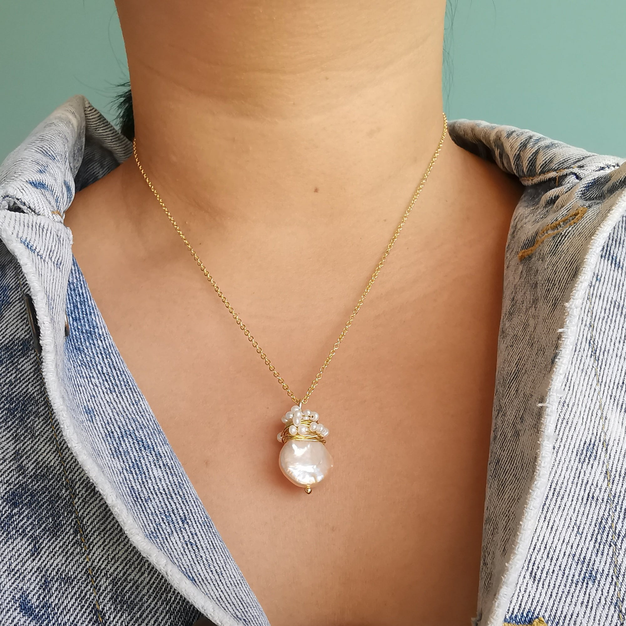 Handmade Baroque Pearl Wire Wrapped Necklace