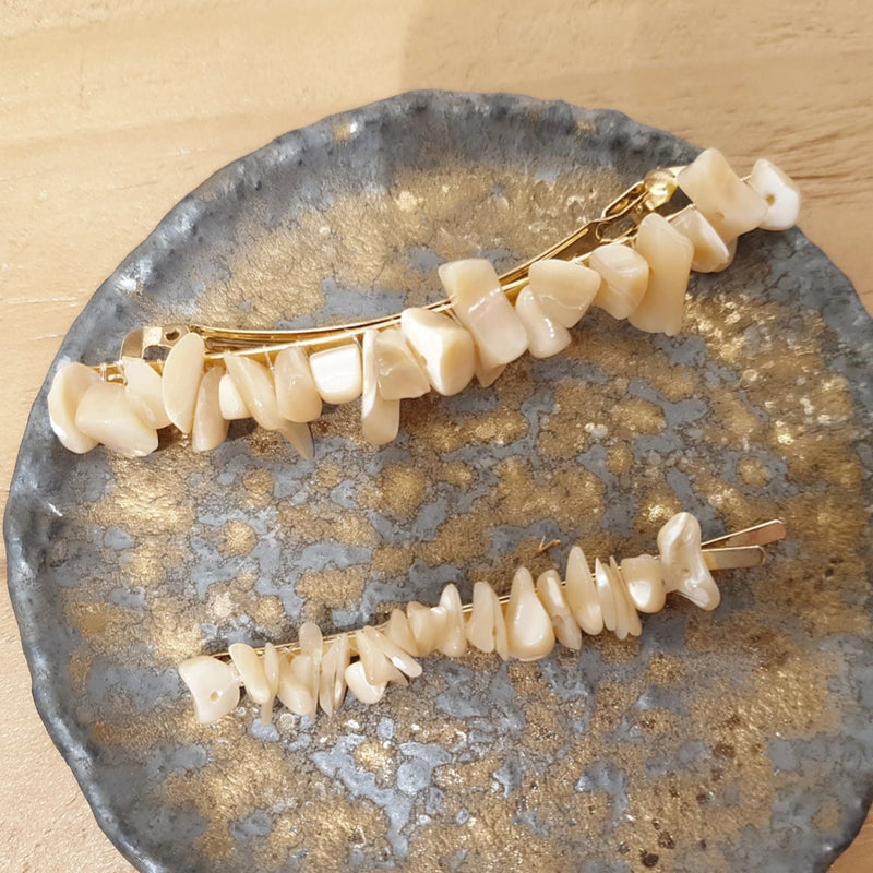 Two Natural Shell Hair Clips