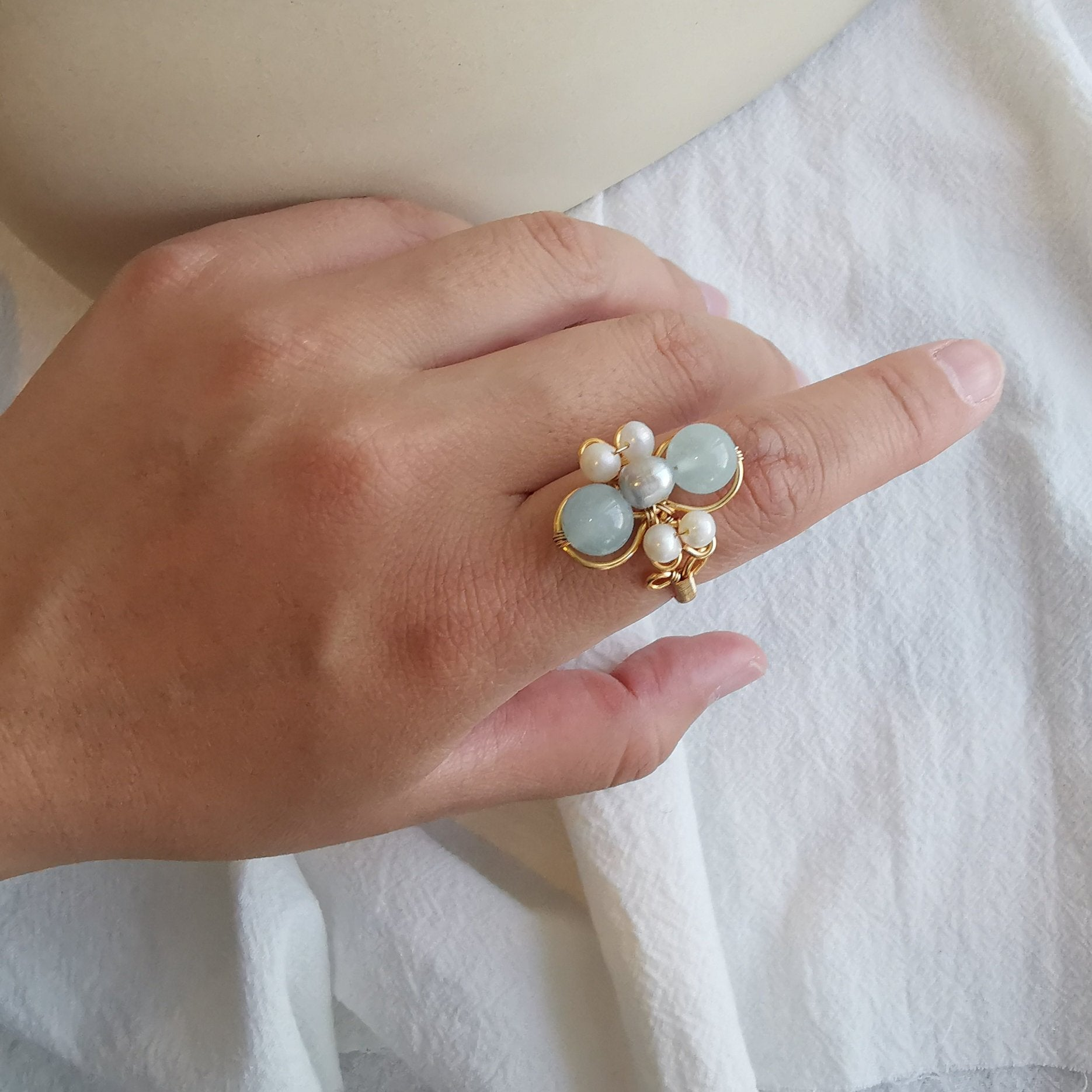 Aquamarine & Pearl Ring