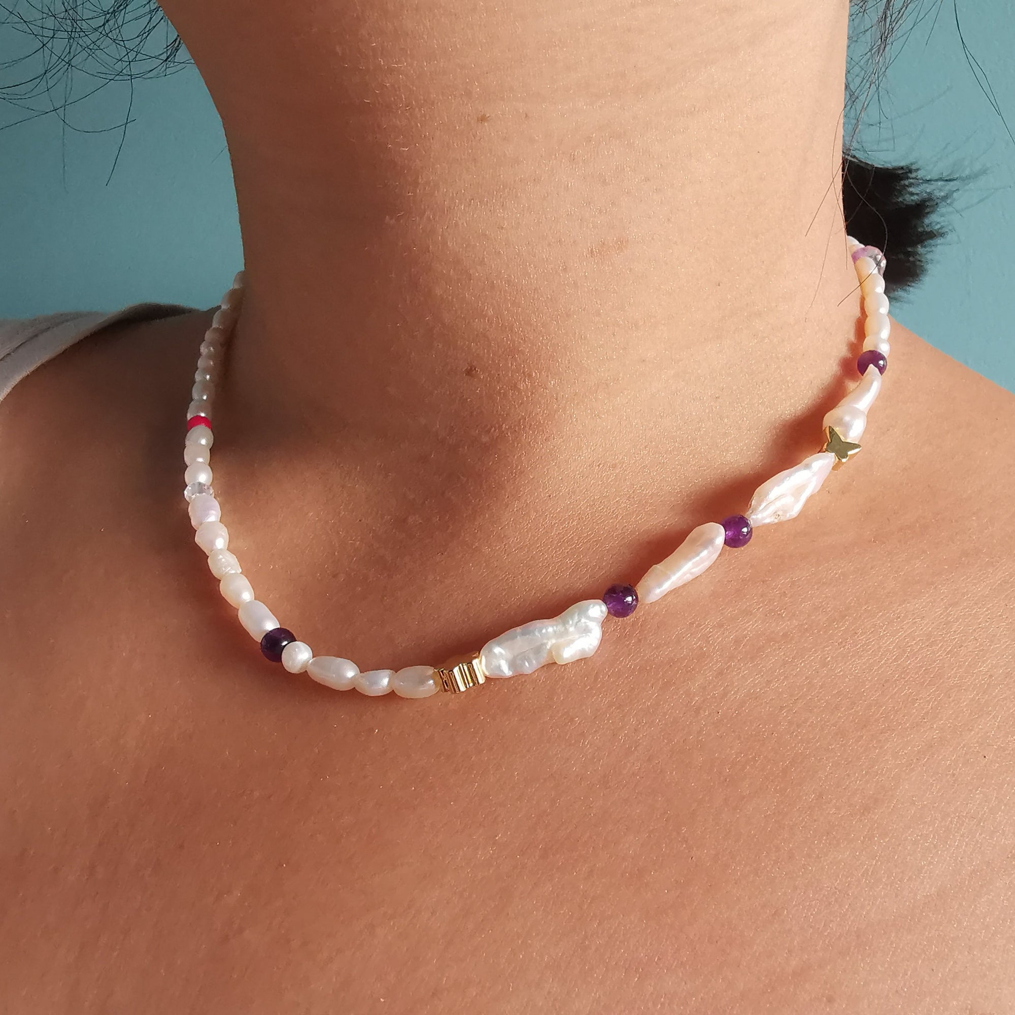 Freshwater Pearl Necklace With Biwa Pearls & Amethyst Stones