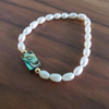 Dainty Freshwater Pearls With Abalone Shell Stretch Bracelet