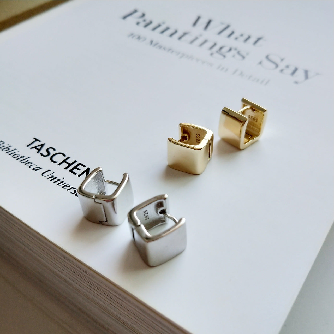 925 sterling silver square earrings