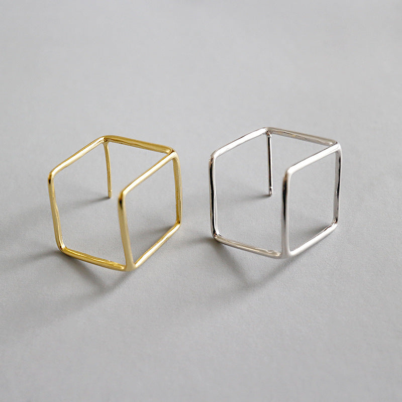 S925 silver geometric hollow earrings