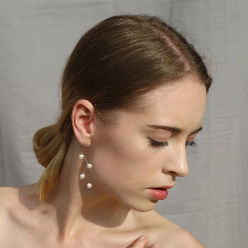 Zig Zag Pearl Earrings - Bolino Studio