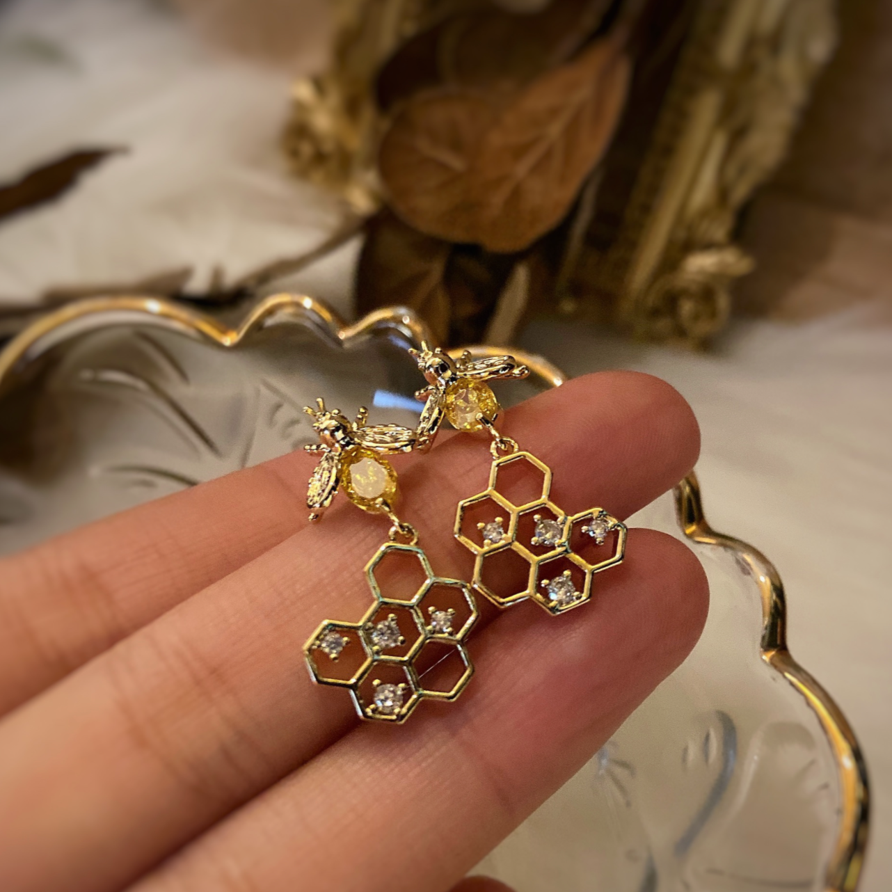 French Vintage Style Bee Earrings