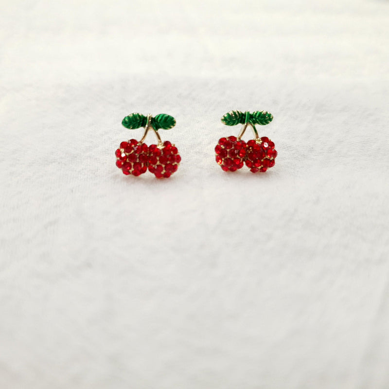 Tiny Cherry Stud Earrings