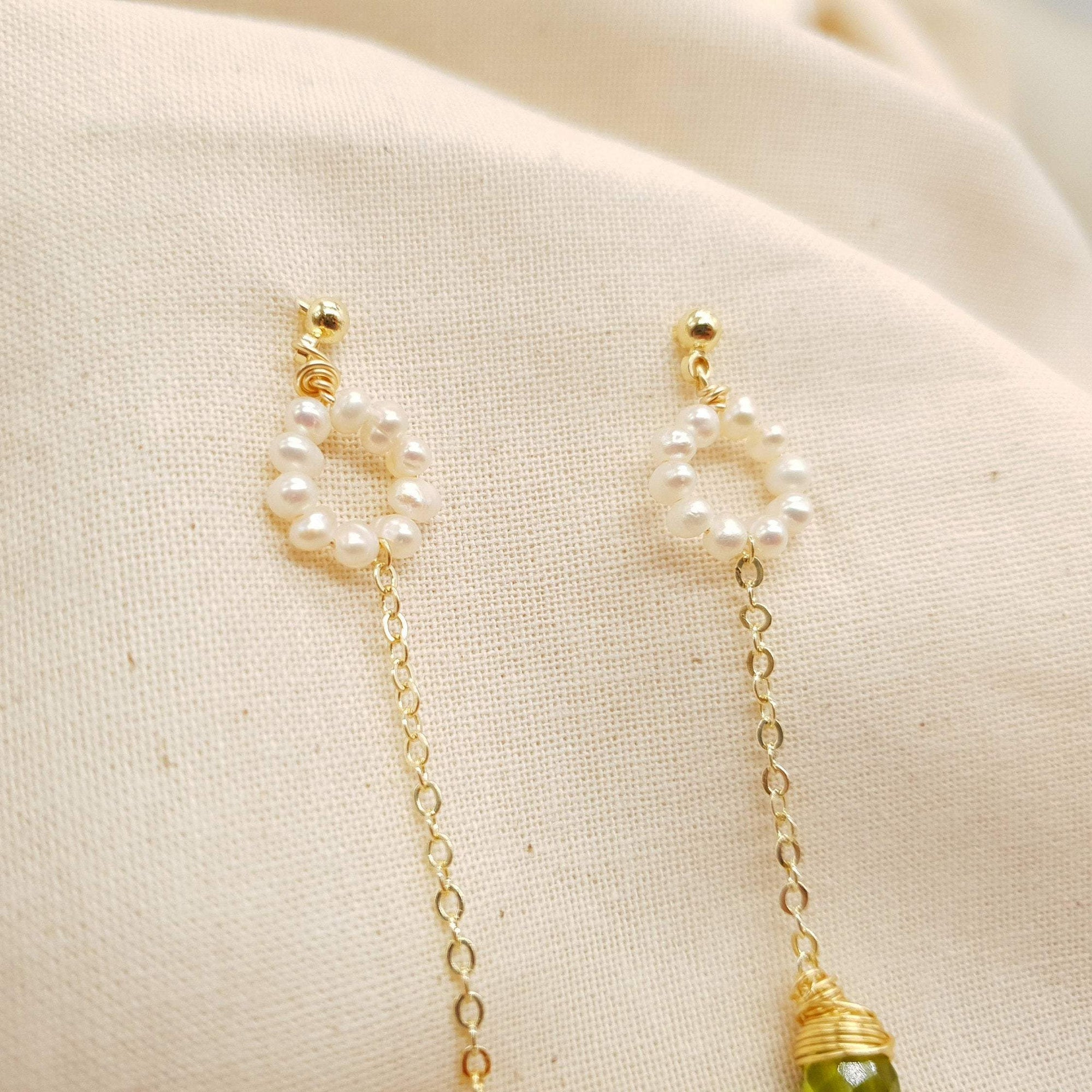 Crystal Of Galaxy Hand Wire Wrap Pearl Earrings - Bolino Studio