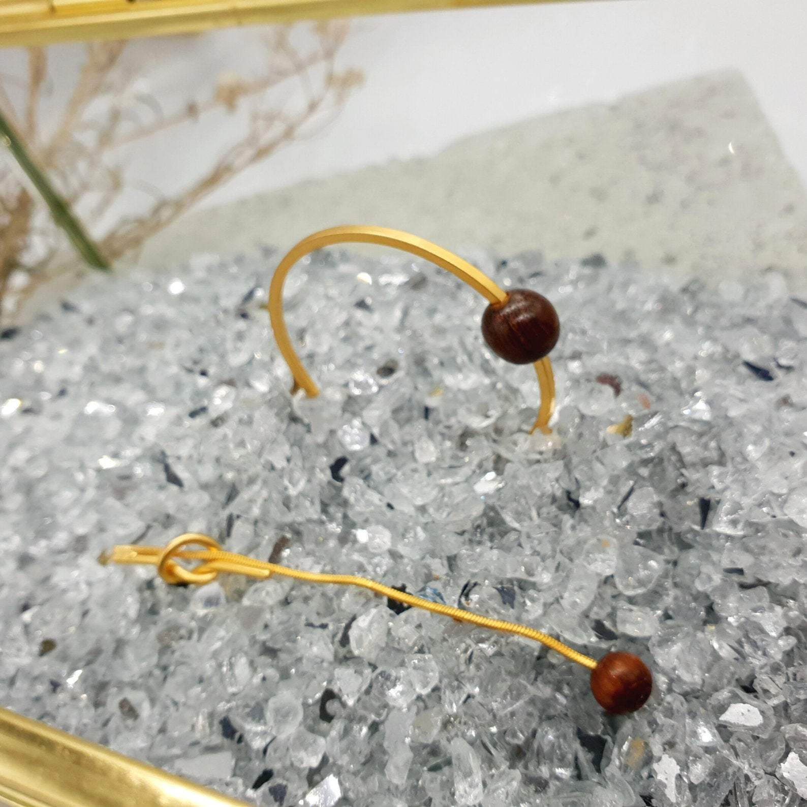 Natural Wood Bead Earrings