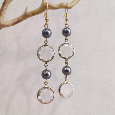 Crystal Glass Asymmetric Drop Earrings - Bolino Studio