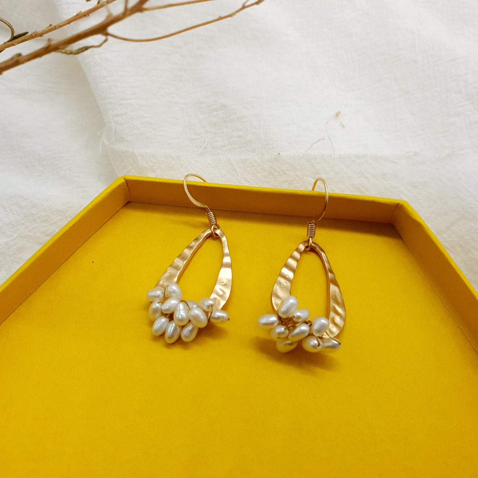 Handmade Matte Natural Rice Pearl Earrings