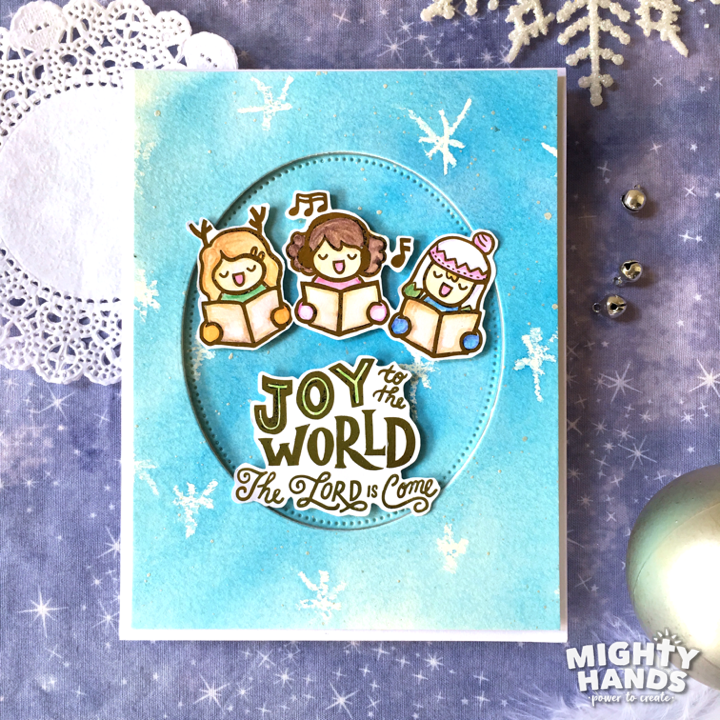 mighty hands photopolymer clear stamps joy to the world christian card