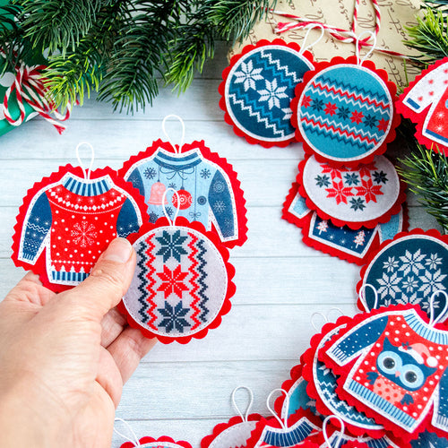 Christmas ornaments Advent calendar ornaments ugly christmas sweater red Christmas tree Christmas countdown Advent ornament Kids advent gift