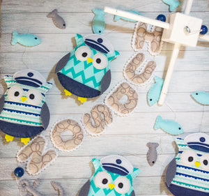 Personalized nautical baby mobile with owls
