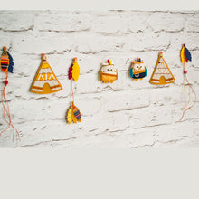 Orange and navy tribal themed garland