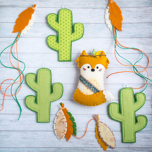 Orange and green tribal nursery garland