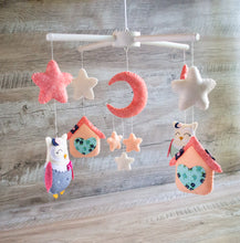 Coral and navy baby mobile with owls