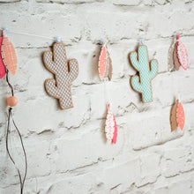 Coral and brown cactus garland for kids room