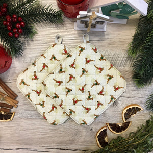 Christmas potholders with deer