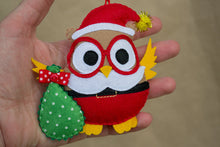 Santa ornament Christmas tree decor Felt owl Christmas bauble Christmas gifts Friend gift Homemade crafts Xmas decoration Red Christmas cute