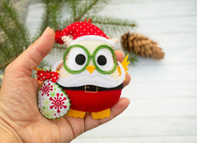 Owl gift Funny gift for Christmas tree ornaments Santa Claus Holiday ornaments Office gift toy Toddler christmas Owl lover Santa figurine