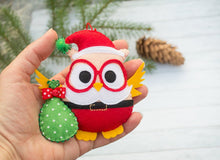 Christmas tree decor Christmas toys owl ornaments Decorative owl Santa Claus Cute gift Coworker gift Christmas tree ornament Red Christmas