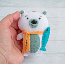 Polar bear ornament Holiday gift Baby mobile Bear decor White bear nursery Homemade gifts Bear Christmas Gift for kids Felt ornament stuffed