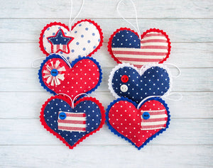 The set of patriotic hearts for the 4th of July