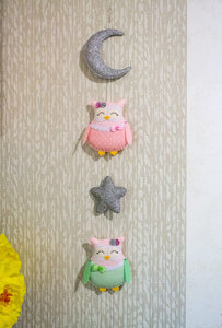 Pink and silver owl garland